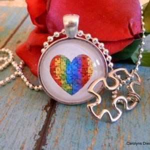 Jewelry - Autism Heart Dome Necklace With Puzzle Piece